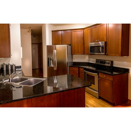 LAMINATED POSTER Kitchen Cabinets Countertop Cherry Wood Granite Poster Print 24 x