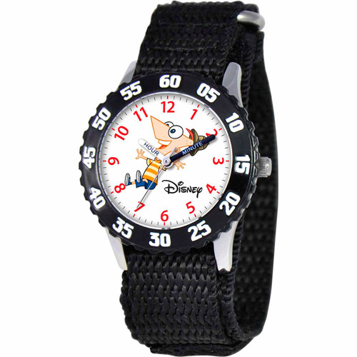 Disney Phineas Boys' Stainless Steel Watch, Black Strap