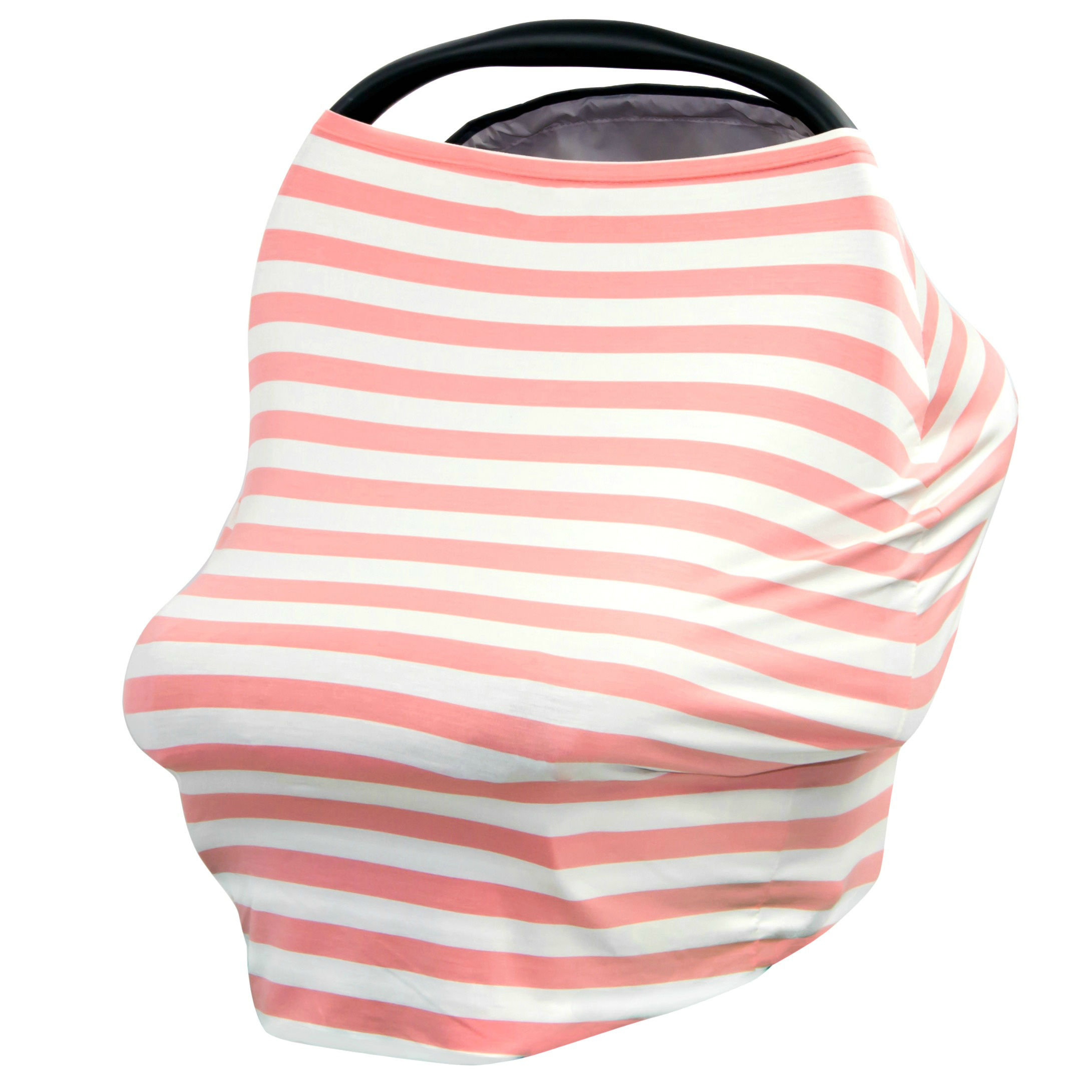 JLIKA Baby Car Seat Canopy Cover and Stretchy Nursing Cover - Peach Ivory Stripe