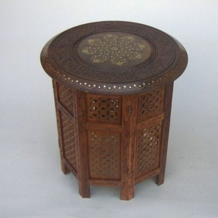 India Overseas Trading SH120 - Carved Wooden Table, Octagonal Stand