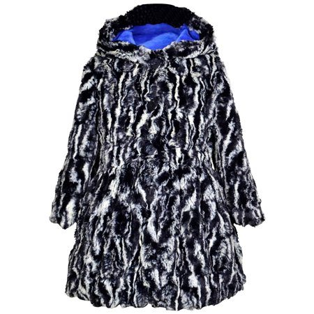Widgeon Little Girls' Button Front Faux Fur Coat, Textured Zebra, Size: 7 - image 1 of 1