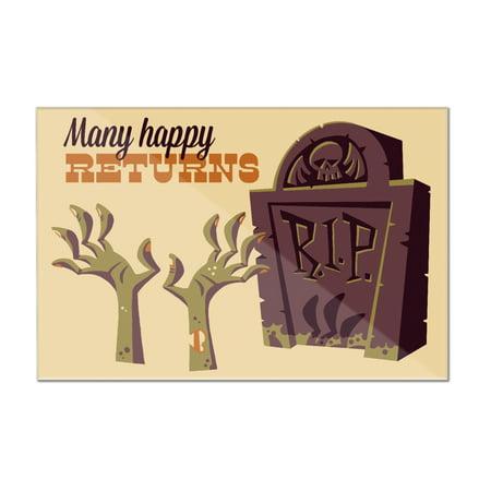 Gravestone - Many Happy Returns - Retro Halloween - Lantern Press Artwork (12x8 Acrylic Wall Sign)](Funny Halloween Gravestone Names)