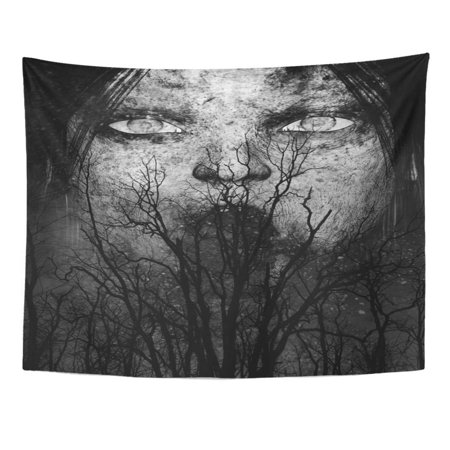 REFRED Halloween 3D Scary Ghost Woman Horror Mixed Media Movie Woods Sad Wall Art Hanging Tapestry Home Decor for Living Room Bedroom Dorm 51x60 inch