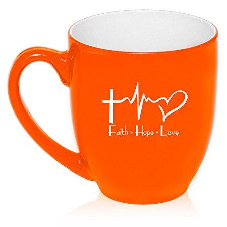 16 oz Large Bistro Mug Ceramic Coffee Tea Glass Cup Faith Hope Love EKG Christian (Faith Ceramic)