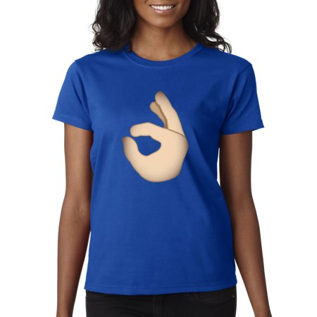 Rolyan Finger (Trendy USA 625 - Women's T-Shirt Fingers A-Okay Circle Game 2XL Royal Blue )