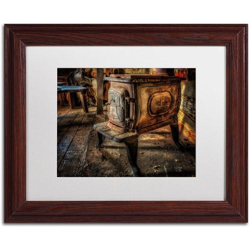 "Trademark Fine Art ""Liberty Wood Stove"" Canvas Art by Lois Bryan, White Mat, Wood Frame"