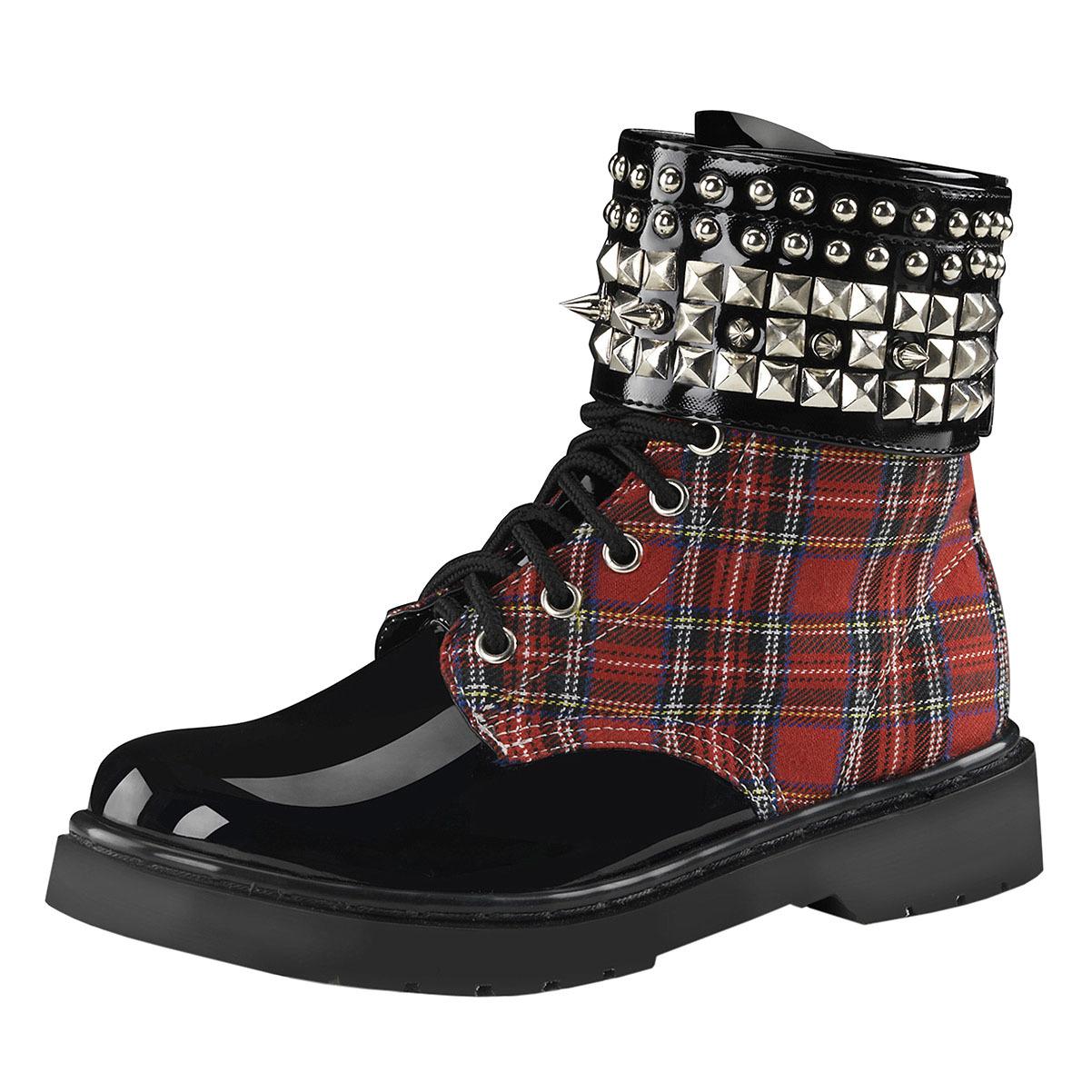 Womens Red Combat Boots Plaid Shoes Studded Cuff Black La...