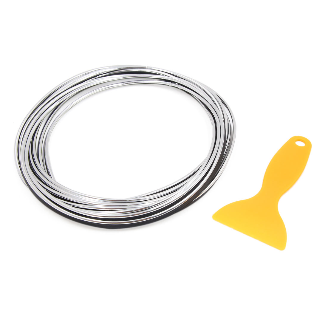 5M Silver Tone Flexible Auto Car Decorative Moulding Trim Strip Line w Scraper