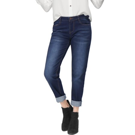 Unique Bargains Women's Pockets Zip Fly Button Closure Boyfriend Jeans