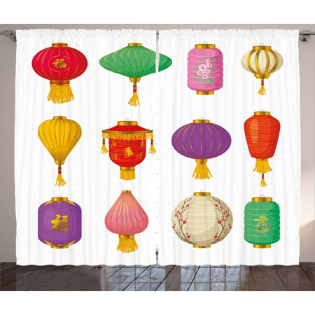 Lantern Curtains 2 Panels Set, Chinese Celebration Asian Culture Far East New Year Cartoon Style Festival Tassels, Window Drapes for Living Room Bedroom, 108W X 108L Inches, Multicolor, by - Asian Lanterns