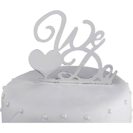 "Unik Occasions ""We Do"" Acrylic Wedding Cake Topper, Silver Mirror"