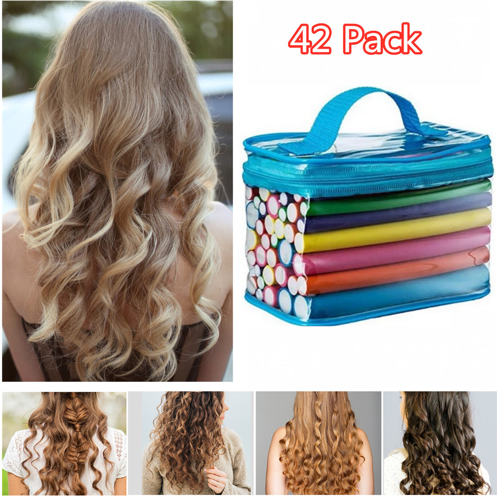 42pcs 7 Hair Flexi Rods Flexible Curling Rods Hair Rollers Set No Heat Hair Curlers Soft Foam For Short Medium Short Hair Walmart Com Walmart Com