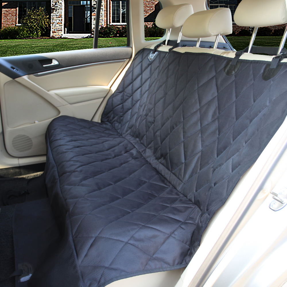 "Leader Accessories Car Rear Seat Covers for Pet Dog Bench Seat Protector 54"" x 58"" Black - Backseat Hammock Style with anchor & Seat Belt Velcro Holes"
