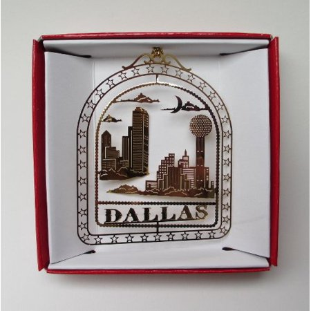Dallas Texas Christmas Ornament Reunion Tower City Skyline Brass Souvenir Gift (Party City Dallas Texas)