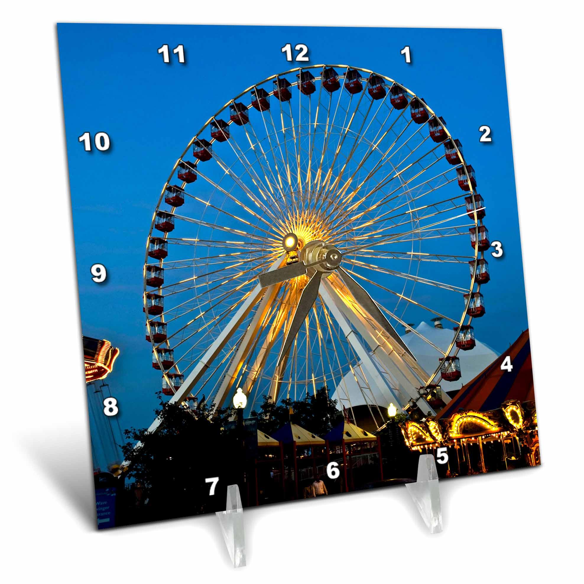 3dRose Illinois, Chicago, Ferris Wheel, Navy Pier US14 BFR0033 Bernard Friel, Desk Clock, 6 by 6-inch by 3dRose