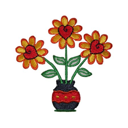 ID 6094 Love Potted Daisy Flower Patch Heart Bloom Embroidered Iron On Applique (Daisy Love)