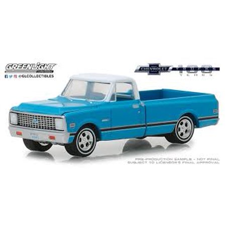 GREENLIGHT 1:64 ANNIVERSARY COLLECTION SERIES 7 - 1972 CHEVROLET C-10 - 100TH ANNIVERSARY OF CHEVY TRUCKS (BLUE) 27970-C