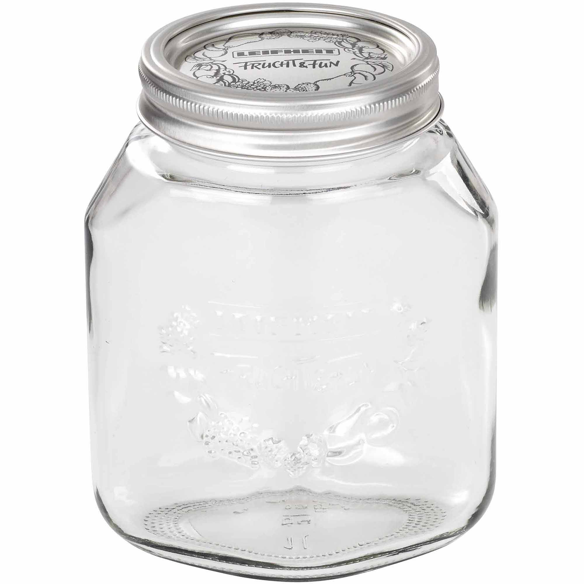 Leifheit Large 34 oz Glass Wide-Mouth Mason Jar for Canning, Set of 6, Transparent