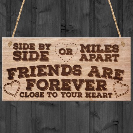 Decoration Vintage Shabby Style Friendship Sign Hanging Best Friend Board Chic Heart Thank You for Home Decor ()