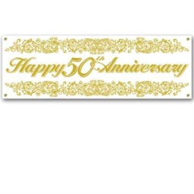 Happy 50th Anniversary Sign Banner, - Happy Anniversary Signs