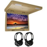 "TView T2207IR 22""  Beige Overhead Car/Truck Video Monitor + 2 Wireless Headsets"