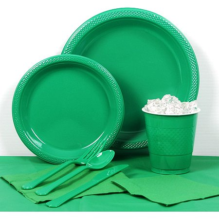 Emerald Green Plastic Tableware Party Pack for 20