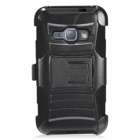 Insten Stand Dual Layer Hybrid Case with Holster For Samsung Galaxy J1 (2016) - Black - image 1 de 3