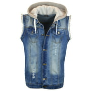 Mens Casual Denim Biker Hoodie Shirt Sleeveless Hooded Vest Jacket