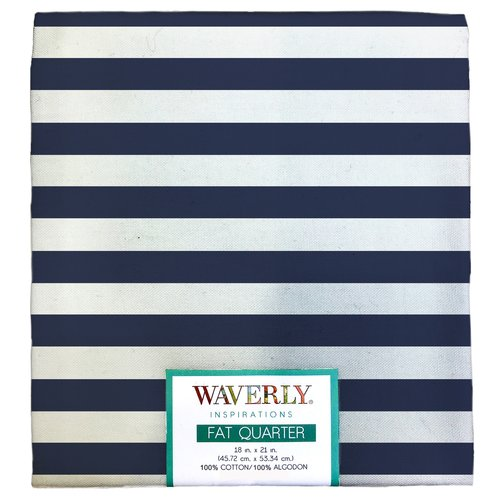 "Waverly Inspiration Fat Quarter 100% Cotton, Stripe Print Fabric, Quilting Fabric, Craft fabric, 18"" by 21"", 140 GSM"