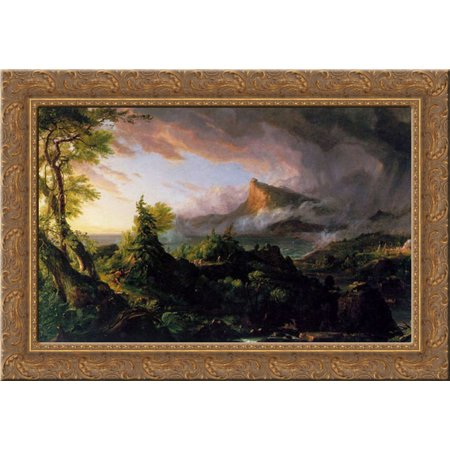 The Course of the Empire: The Savage State 24x18 Gold Ornate Wood Framed Canvas Art by Cole, Thomas