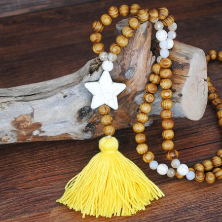 AkoaDa 8 Color Tassel Necklace Wood Bead Howlite Stone Nugget Round Disc Butterfly Star Heart Pendant Sweater Necklace Bohemian Jewelry Red Coral Butterfly Necklace