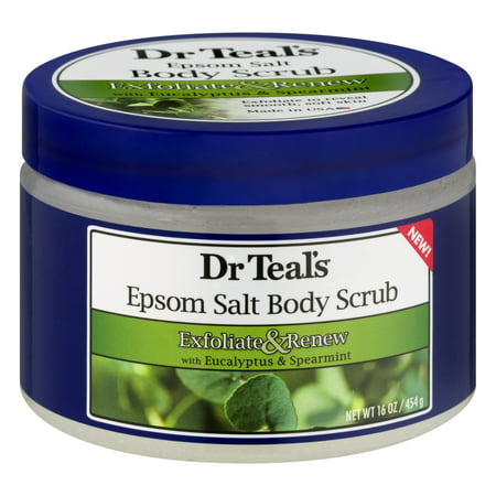 Mint Salt Scrub - Dr Teal's Exfoliate & Renew with Eucalyptus & Spearmint Epsom Salt Body Scrub, 16 oz