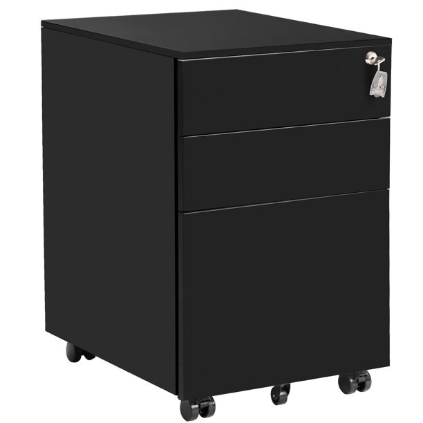 Mobile File Cabinet With 3 Drawers Heavy Duty Metal Locking File Cabinet Large Modern Black Vertical Office File Cabinets Pedestal File Storage Cabinet For Home 20 5 L X 15 5 W X 24 5 H Walmart Com