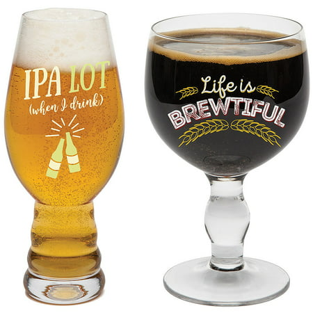 (Set/2) Beer Snob - Hand Blown 18 Oz IPA & 20 Ounce Goblet Ice Cold