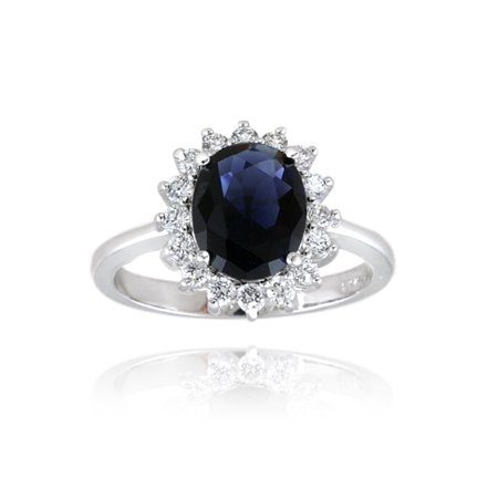 Sterling Silver Replica Kate Middleton Princess Diana CZ Sapphire Engagement Ring