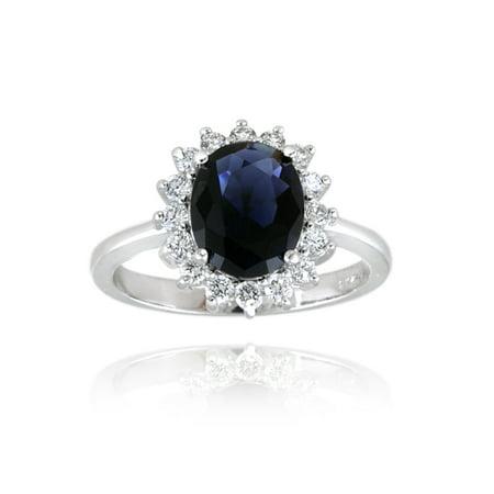 Sterling Silver Replica Kate Middleton Princess Diana CZ Sapphire Engagement