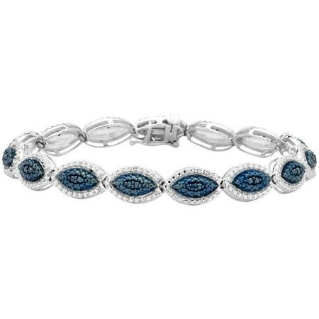 1/4 Carat T.W. Blue Diamond Marquise Shape Sterling Silver Link Bracelet, 7