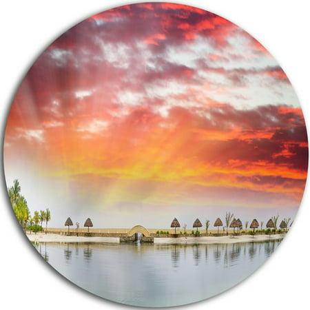 Design Art 'Roatan Beach Sunset Panorama' Photographic Print on Metal