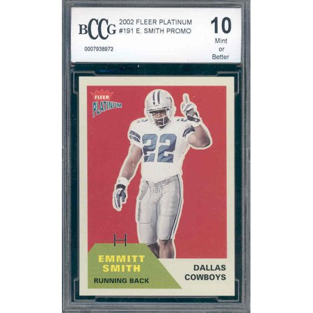 2002 fleer platinum #191 EMMITT SMITH cowboys PROMO cowboys BGS BCCG 10
