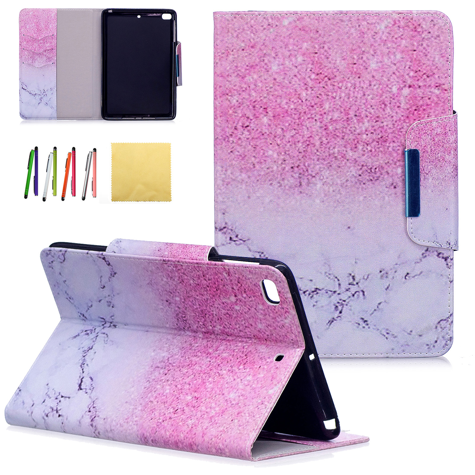 iPad Mini 4 Kids Case, Goodest Colorful PU Leather Stand Wallet Case Covers with Auto Sleep/Wake Function & Card Slots for 7.9 inch Apple iPad Mini 4 2015 Tablet, Marble Sand