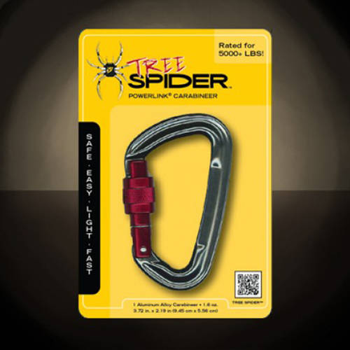 Climbing Powerlink Carabiner TreeSpider, Aluminum, Grey with Red Gate