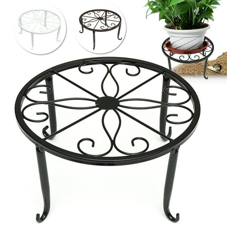 "Metal Outdoor Indoor Pot Plant Stand Home Garden Decor Flower Rack Wrought Iron 9.45"" x 9.45"" x 5.12"""