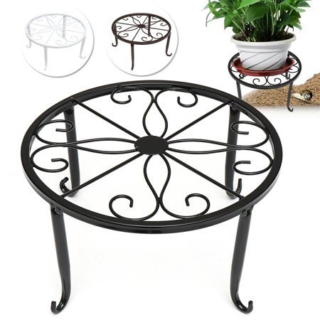 Wrought Iron Pot Plant Stand Flower Shelf Indoor Outdoor Garden Decor 24*24*13cm Outdoor Shelf Stand