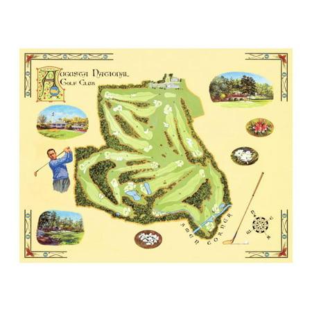 Golf Course Map: Augusta Print Wall Art By Bernard Willington