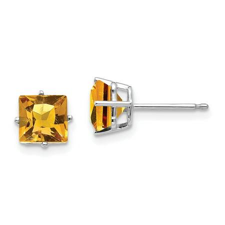 6mm Princess Cut Mount - 14K White Gold 6mm Princess Cut Citrine Stud Earrings