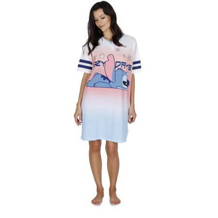 Disney Women's Lilo and Stitch Lazy Days Dorm Nightgown, Blue, Size: XS (Disney Dressing Gown)