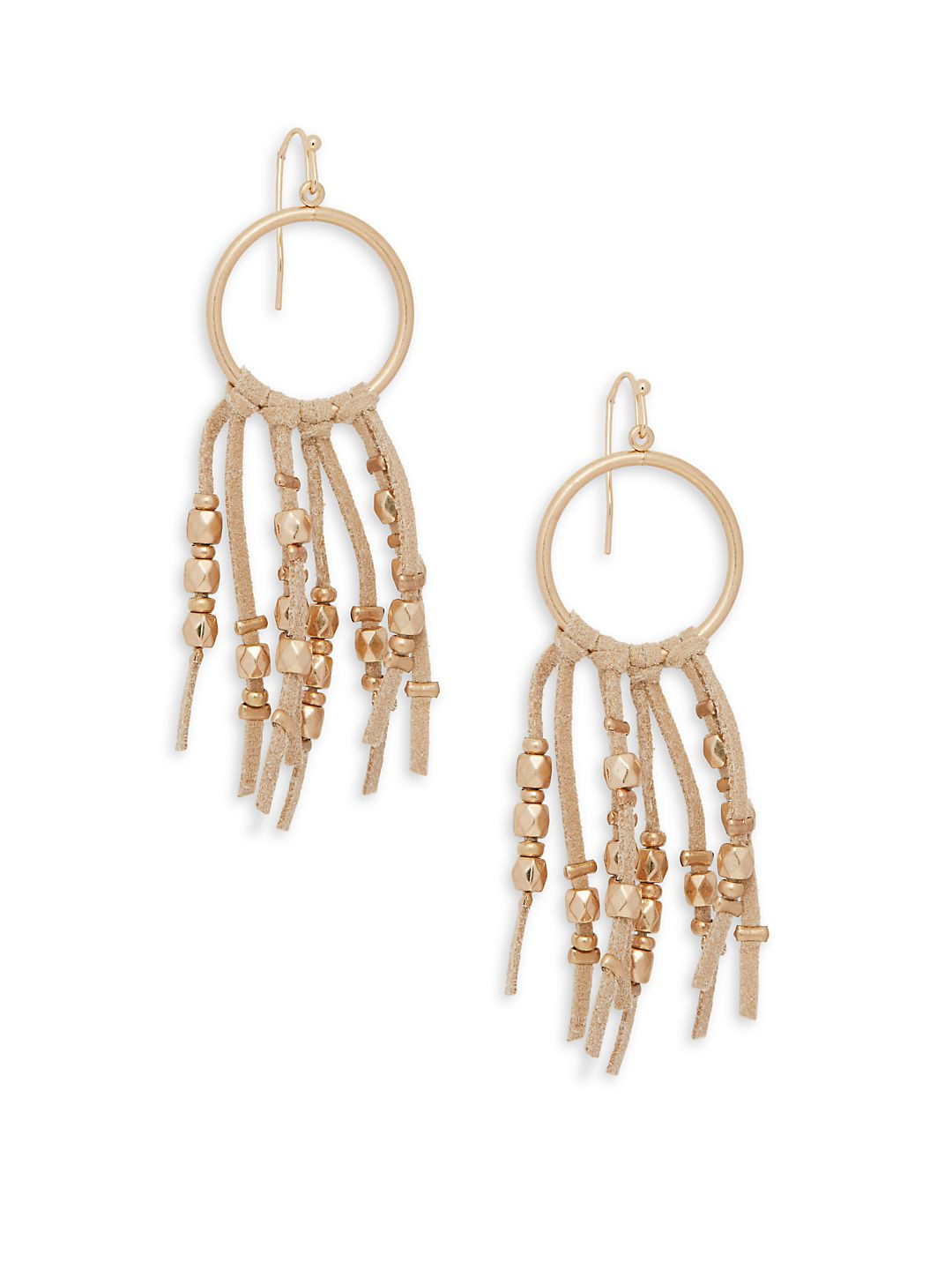 Beaded Leather Hoop Drop Earrings