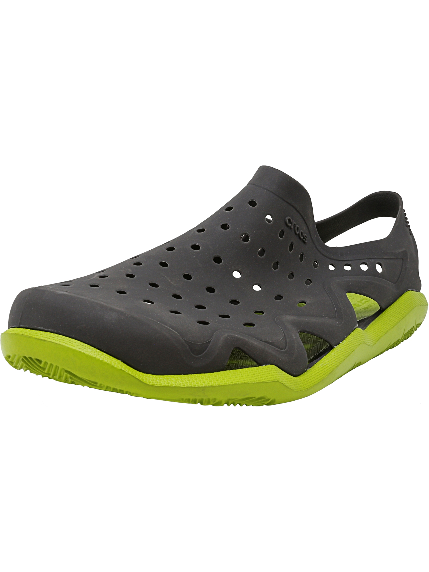 0ca7d0a3ebcc Crocs Men s Swiftwater Wave Graphite   Volt Green Ankle-High Rubber Sandal  - 5M