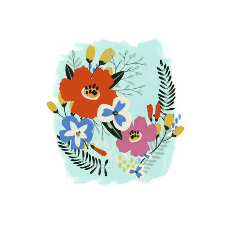 Bouquet Brights IV Whimsical Folk Floral Flower Artwork Print Wall Art By June Vess