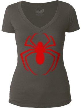 Spider-Man  Red Logo Girls Jr Soft Tee Dark